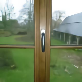 Fenêtre chêne vue poignée simple