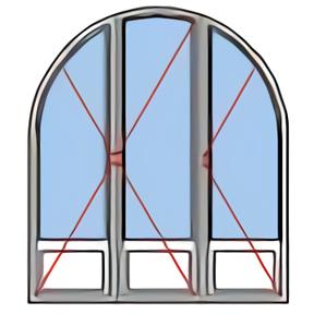 Porte fenêtre rénovation plein cintre 3 vantaux