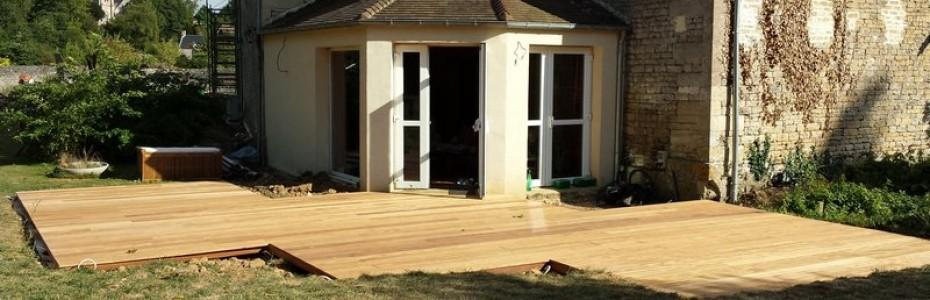 Terrasse bois exotique terminée