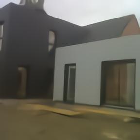 Maison bois fenêtres aluminium noir sable