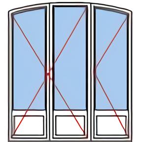 Porte fenêtre rénovation 3 vantaux demi-cintre