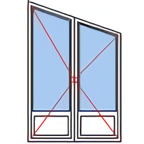 Porte fenêtre trapèze croisée 2 vantaux