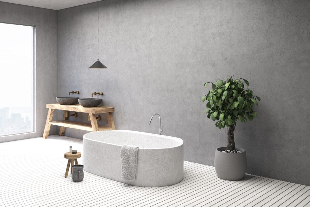 Béton ciré mur salle de bain